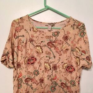 Forever 21 Floral Bird Print Tee